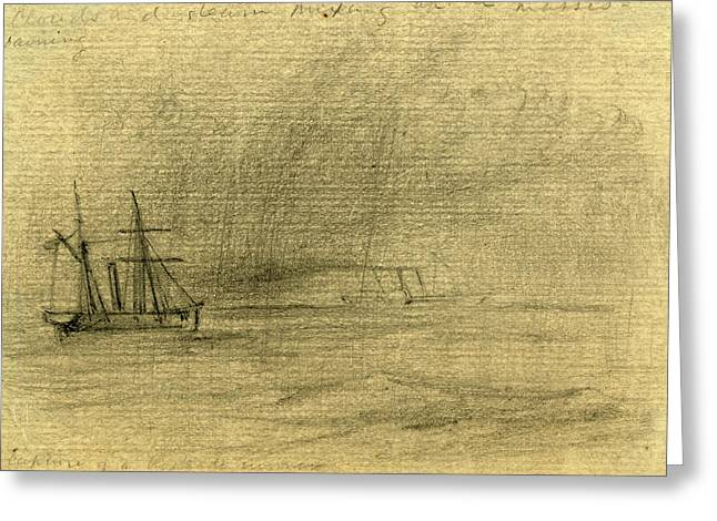 Capture Of A Blockade Runner, Between 1860 And 1865 Greeting Card