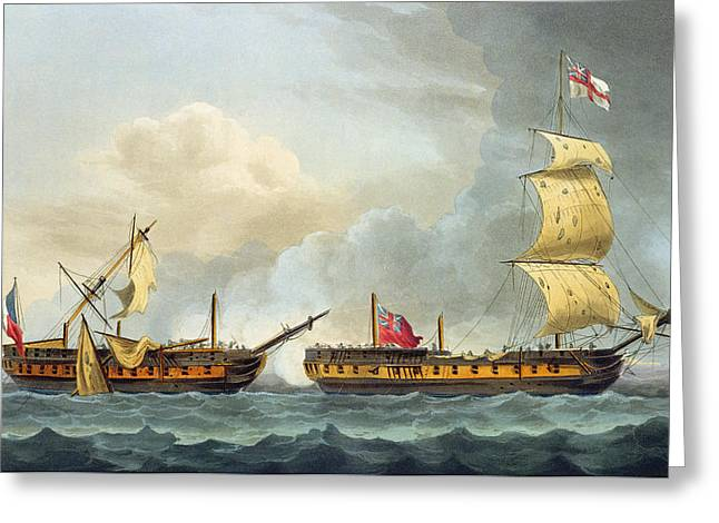 Capture Of La Fique Greeting Card by Thomas Whitcombe