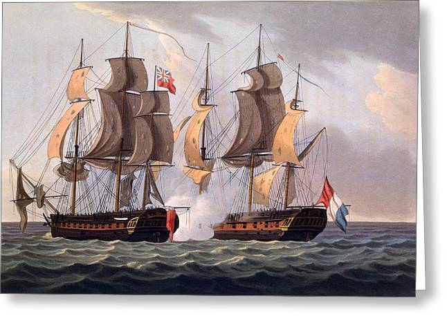 Capture Of La Proserpine Greeting Card by Thomas Whitcombe