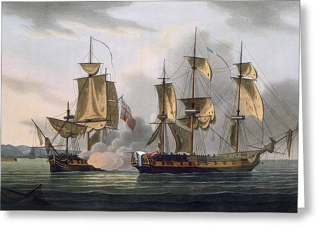 Capture Of La Reunion Greeting Card by Thomas Whitcombe