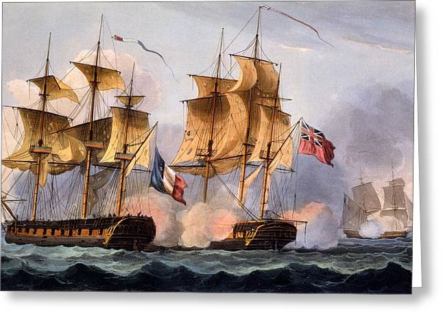 Capture Of Le Desius Greeting Card by Thomas Whitcombe
