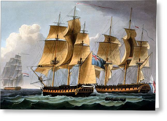Capture Of The Furie And Waakzaamheid Greeting Card by Thomas Whitcombe
