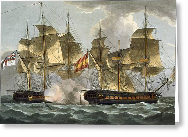 Capture Of The Mahonesa Greeting Card by Thomas Whitcombe