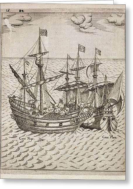 Capture Of The The Spanish Galleon Greeting Card by British Library