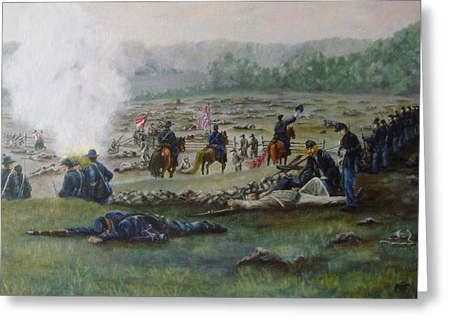 Capturing The Flag-picketts Charge Greeting Card by Joann Renner
