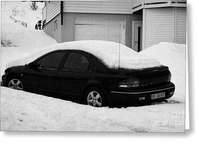 Car Buried In Snow Outside House In Honningsvag Norway Europe Greeting Card