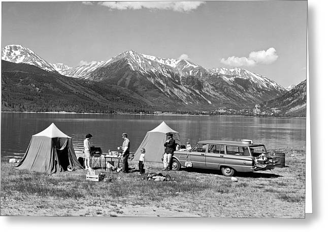 Car Camping In The Rockies Greeting Card by Underwood Archives