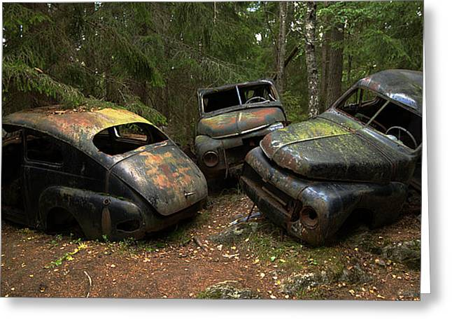 Car Cemetery In The Woods. Greeting Card by Steen Lund Hansen