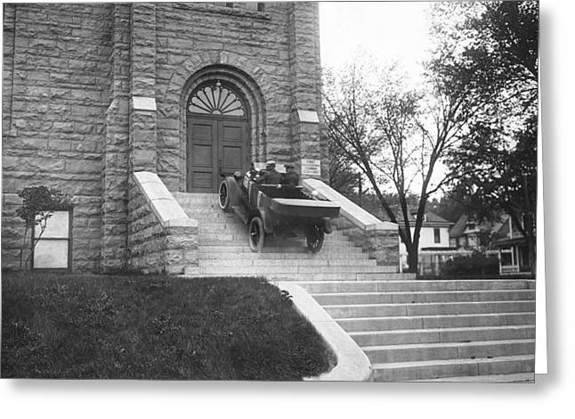 Car Climbs Church Steps Greeting Card by GW Fox