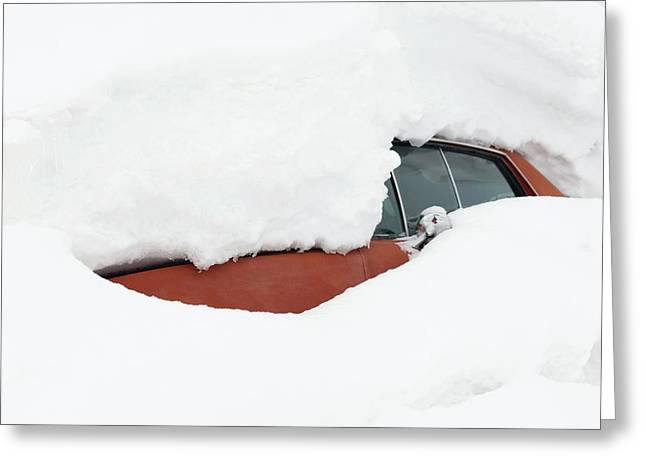 Car Covered By Snow Greeting Card