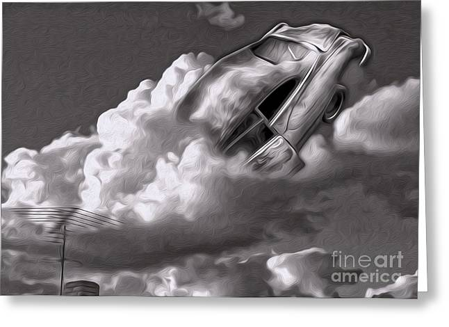 Car Crash In The Clouds - Number 2 Greeting Card by Gregory Dyer