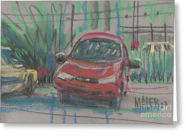 Greeting Card featuring the painting Car Crazy by Donald Maier