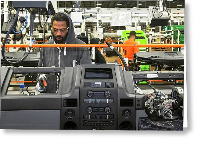 Car Dashboard Assembly Line Greeting Card