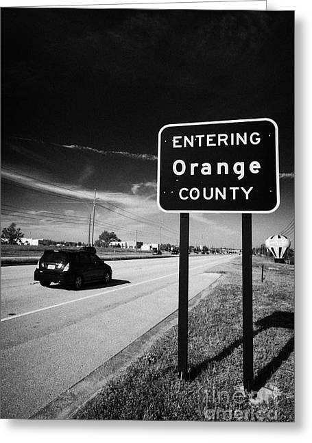 Car Entering Orange County On The Us 192 Highway Near Orlando Florida Usa Greeting Card by Joe Fox