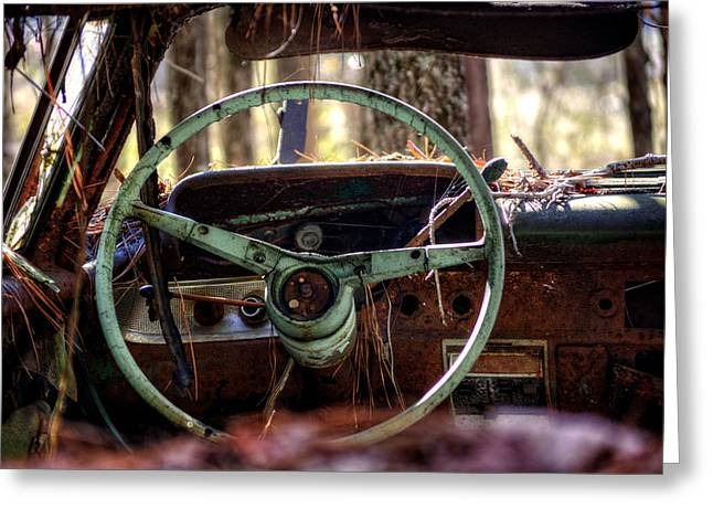 Car In The Woods Greeting Card by Greg Mimbs