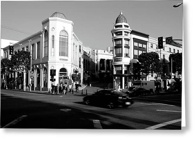 Car Moving On The Street, Rodeo Drive Greeting Card by Panoramic Images
