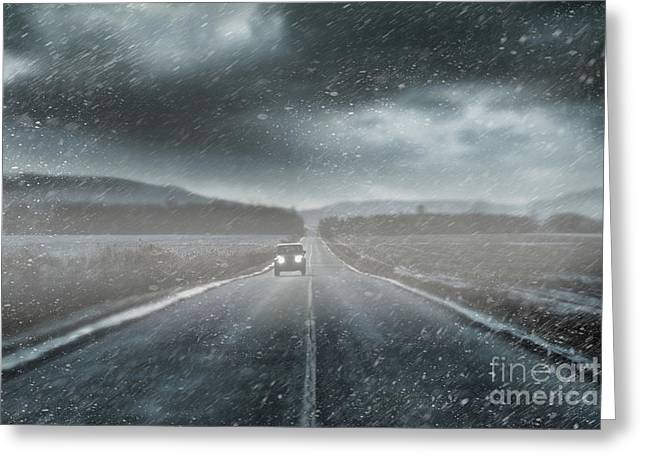 Car On Rural Road In Early Winter Greeting Card by Sandra Cunningham