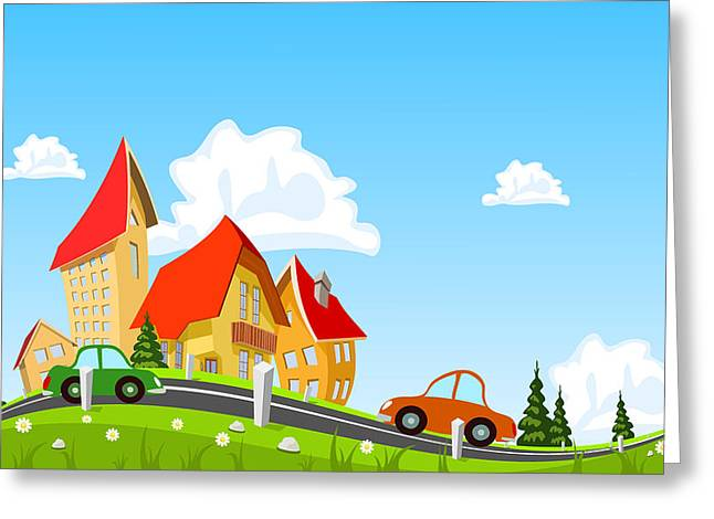Car Passing By In Abstract City Greeting Card