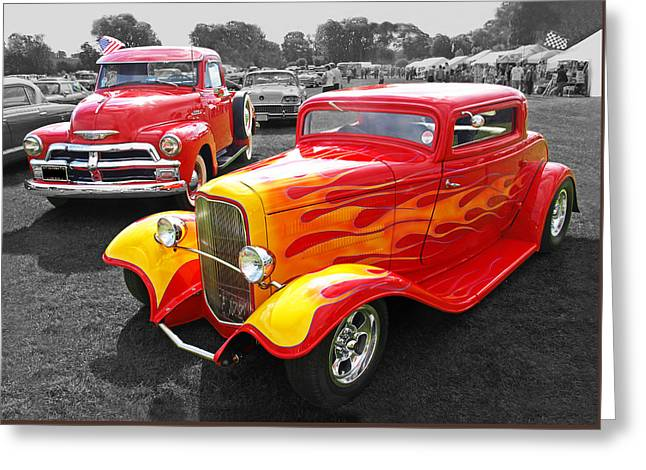 Car Show Fever - 54 Chevy With A 32 Ford Coupe Hot Rod Greeting Card by Gill Billington