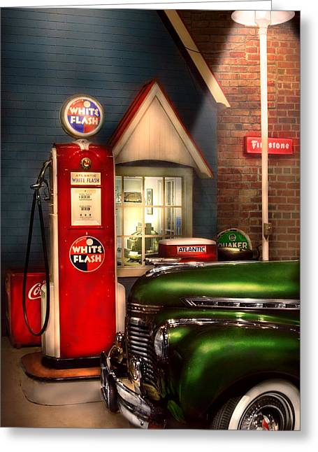 Car - Station - White Flash Gasoline Greeting Card