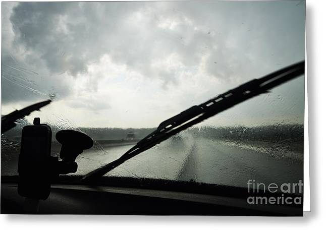 Car Windshield By Heavy Rains On Road Greeting Card by Sami Sarkis