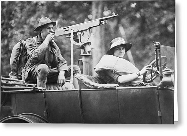 Car With Mounted Machine Gun Greeting Card