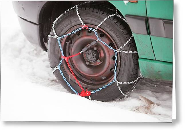 Car With Snow Chains Greeting Card