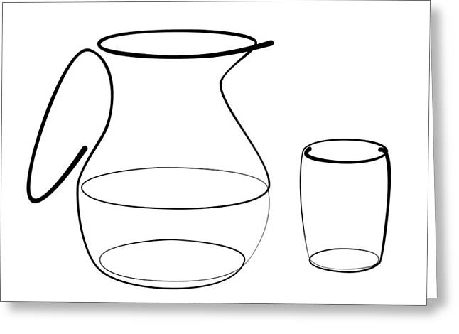 Carafe Glass Line Greeting Card