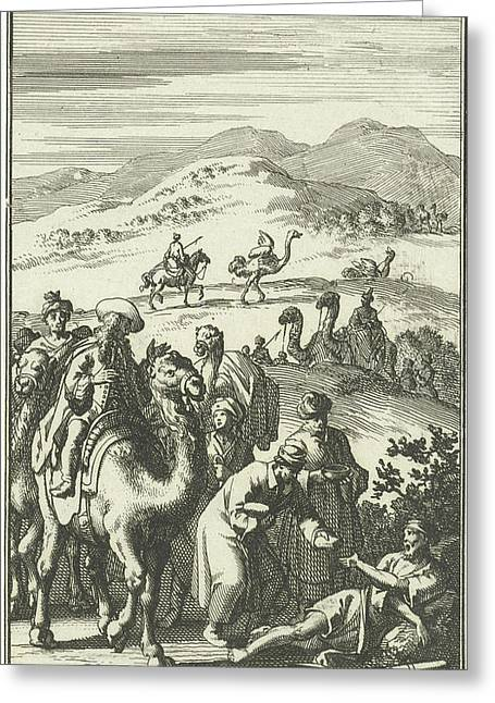 Caravan Finds A Sick Arab On The Road, Jan Luyken Greeting Card by Quint Lox