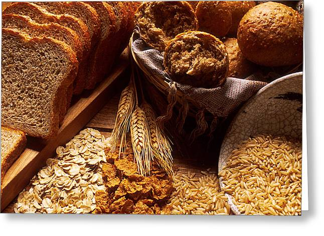 Carbohydrates Bread And Grains Greeting Card by Science Source