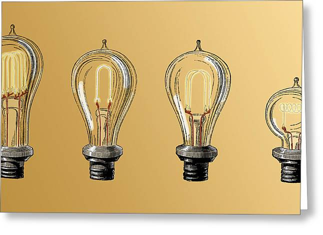 Carbon Filament Light Bulbs, 19th Greeting Card by Science Source