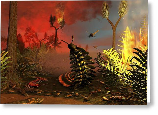 Carboniferous Forest Fire, Artwork Greeting Card by Science Photo Library