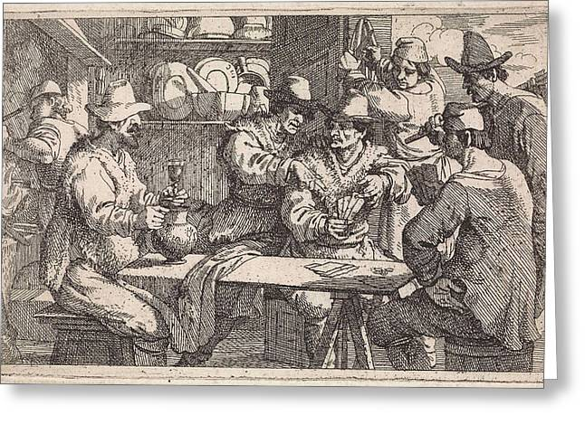 Card Players In Tavern, Jan Baptist De Wael Greeting Card