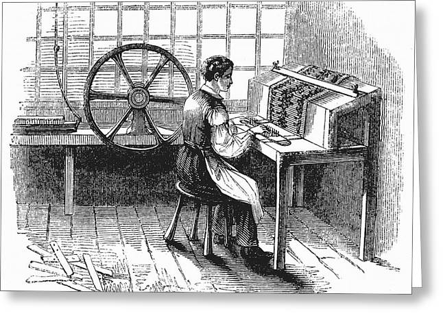 Card Punching Machine For Jacquard Looms Greeting Card by Universal History Archive/uig