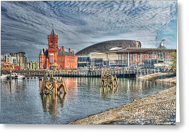 Cardiff Bay Textured Greeting Card by Steve Purnell