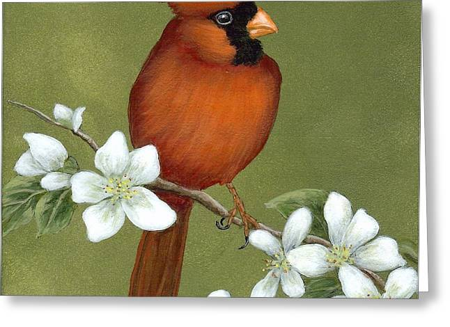 Cardinal And Dogwood Greeting Card
