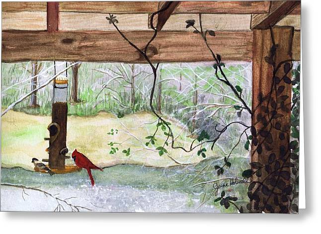Cardinal-back Porch Picnic Greeting Card by June Holwell