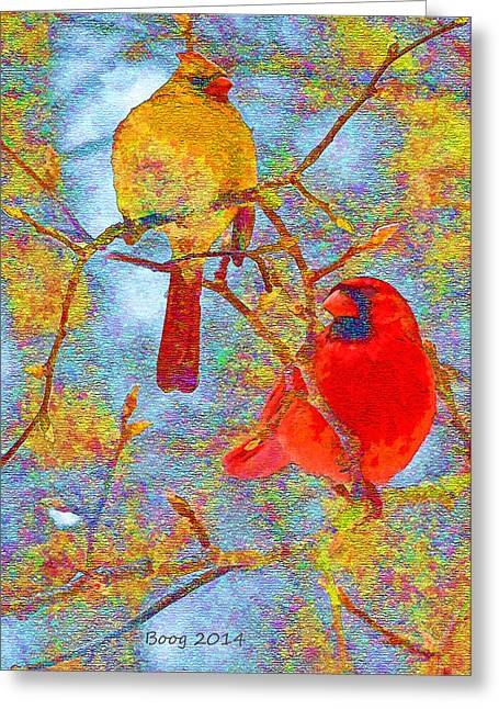Cardinal Couple Greeting Card by Larry Bishop