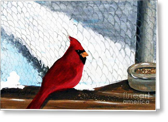 Cardinal In The Dogpound Greeting Card by Barbara Griffin