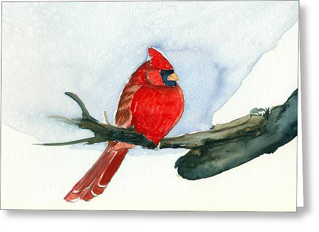 Greeting Card featuring the painting Cardinal by Katherine Miller