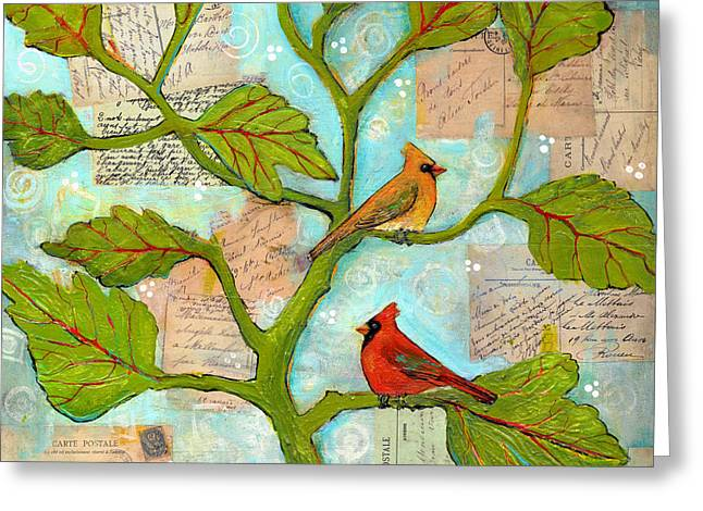 Cardinal Love Notes Greeting Card by Blenda Studio