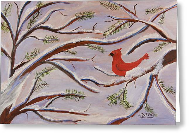 Cardinal Greeting Card by Margaret Pappas