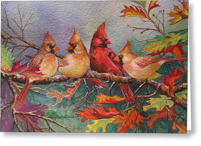 Cardinal Musings Greeting Card by Cheryl Borchert