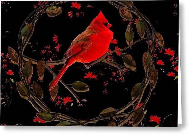 Cardinal On Metal Wreath Greeting Card