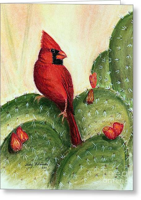 Cardinal On Prickly Pear Cactus Greeting Card