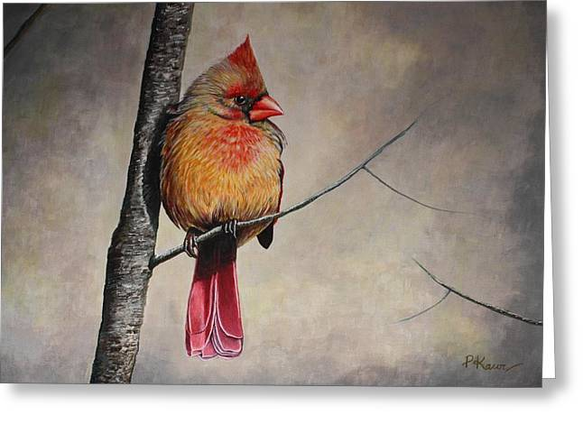Cardinal Greeting Card by Pam Kaur