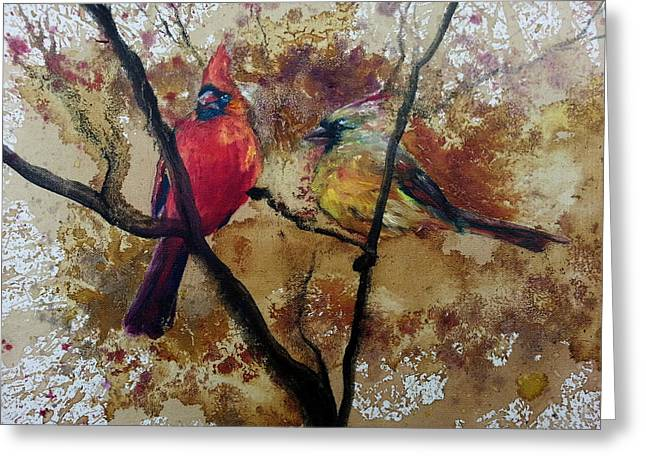 Greeting Card featuring the painting Cardinal Redbird Couple by Christy  Freeman