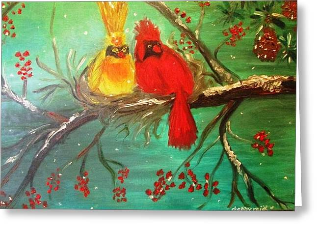 Cardinals Winter Scene Greeting Card