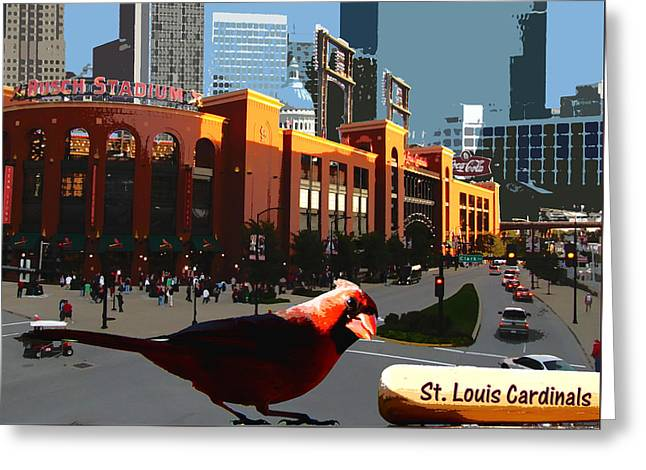 Cardinal Town Greeting Card