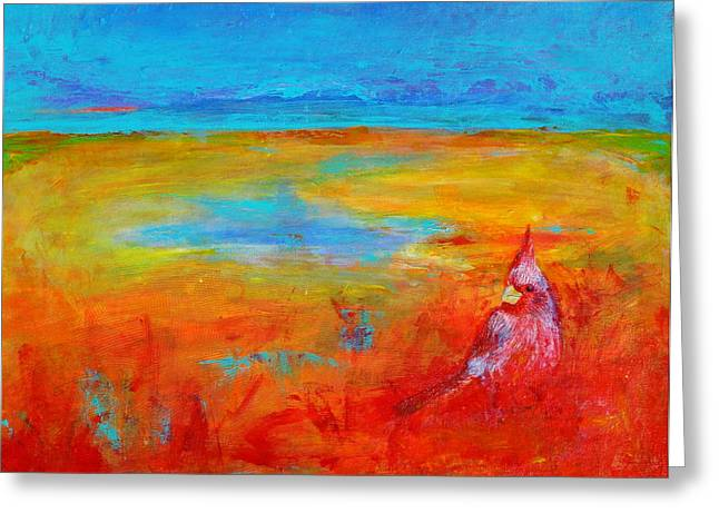 Cardinal Greeting Card by Valerie Lynch